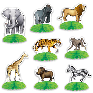 Pack of 8 Jungle Safari Mini Centerpiece - Wild Animals Party Table Decorations