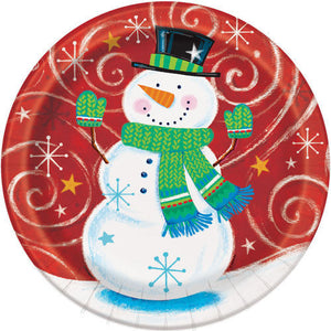 Pack of 8 Snowman Swirl 23 cm Paper Plates - Christmas Party Tableware
