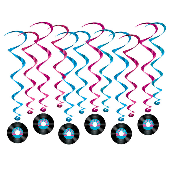 12 Piece Rock and Roll Record Whirls - 50's Musical Party Hanging Decorations