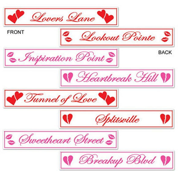 Pack of 4 Double Sided Valentines Street Sign Cutouts - Love Party Decorations