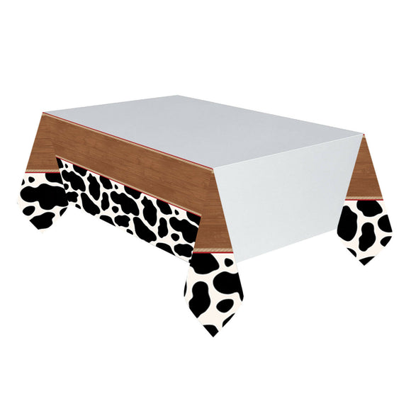 Western Cow Print Plastic Table Cover - 137 x 259 cm - Wild West Party Tableware