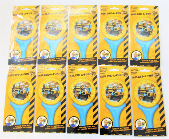 Pack of 10 My First JCB Air Filled Foil Balloons - 15 x 30cm Kids Party Balloon