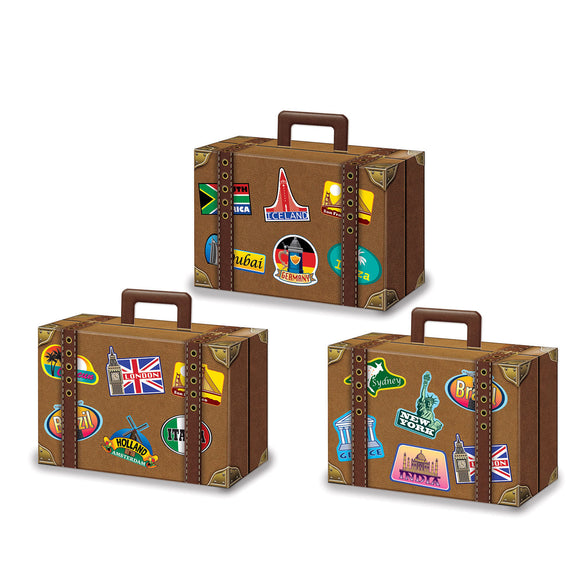 Pack of 3 Luggage Favor Boxes - 10 cm x 14 cm - World Travel Party Favors