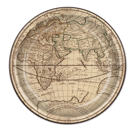 Pack of 8 Around the World 23 cm Paper Plates - Global Travel Party Tableware