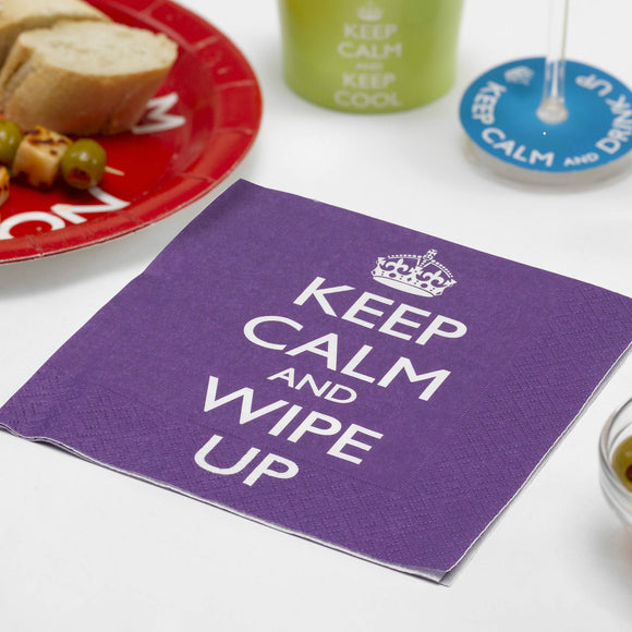 Pack of 20 Keep Calm & Wipe Up! Purple Party Napkins - Party Tableware