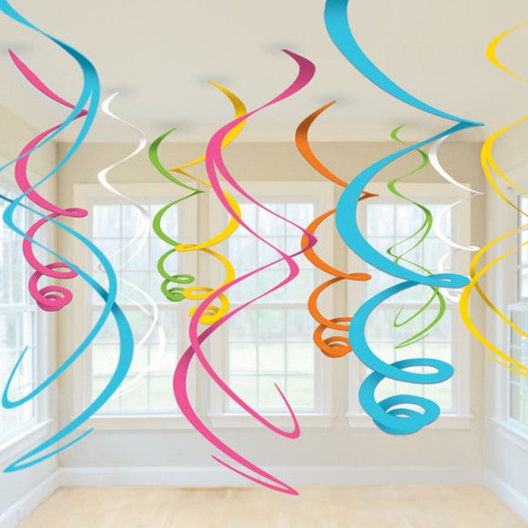Pack of 12 Multi Coloured 55 cm Swirl Decorations - Hanging Party Decoration
