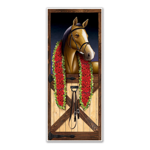 Horse Racing Plastic Door Cover - 76cm x 183cm - Grand National Party Decoration