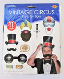 Pack of 11 Vintage Circus Photo Fun Signs - Photo Prop Cutouts Party Decorations
