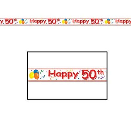 Happy 50th Party Tape - 6 m - Banner and Bunting Birthday Party Decorations
