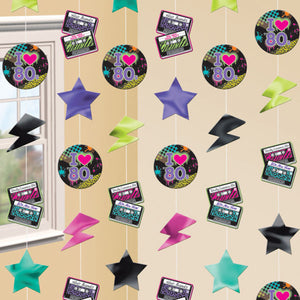Pack of 6 Totally 80's hanging string decorations - stars and lightning 1980's