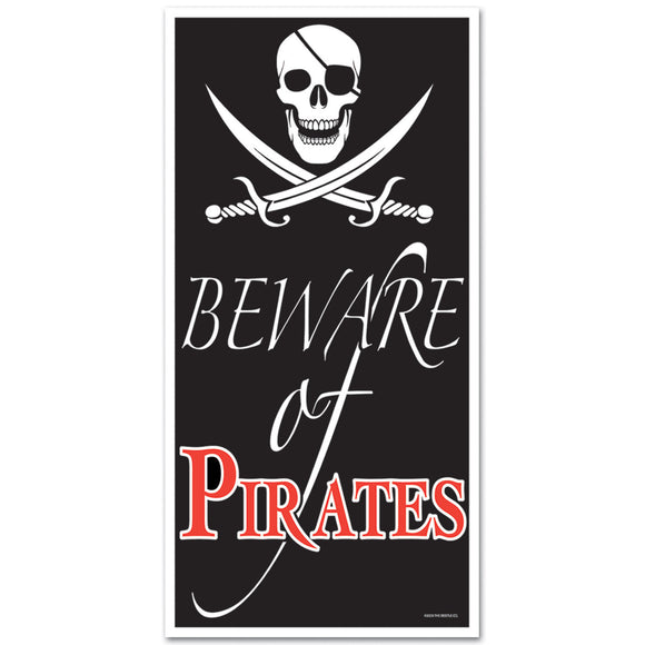 Beware of The Pirates Plastic Door Cover - 76 x 152cm - Pirate Party Decorations
