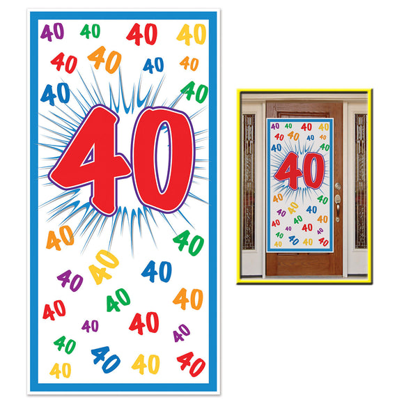 40th Celebration Plastic Door Cover - 76 x 152cm - 40 Birthday Party Decorations