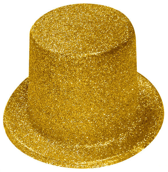 Gold Glitter Top Hat - Fancy Dress Accessories - Hollywood Party Hats