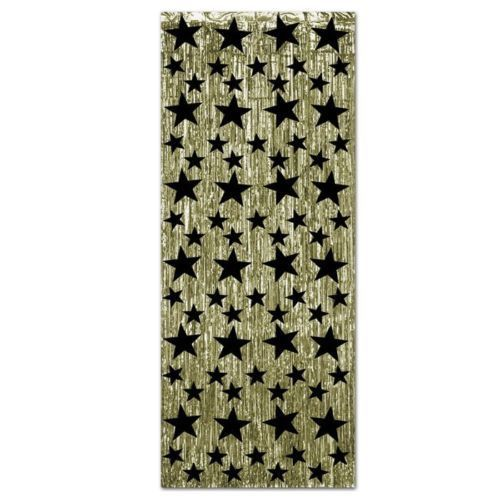 Gold Door Curtain With Black Stars - Hollywood Foil Hanging Party Decorations