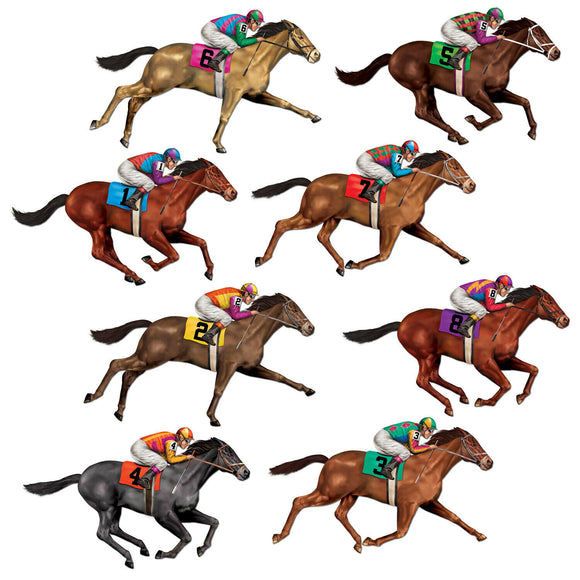 Pack of 8 Race Horse Props - Horse Racing Plastic Scene Setter Party Decorations