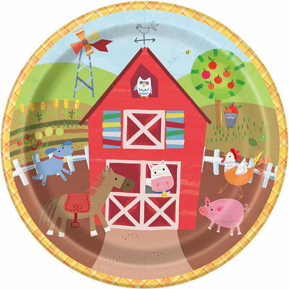 Pack of 8 Farm Animals Paper Plates - 22 cm - Party Tableware