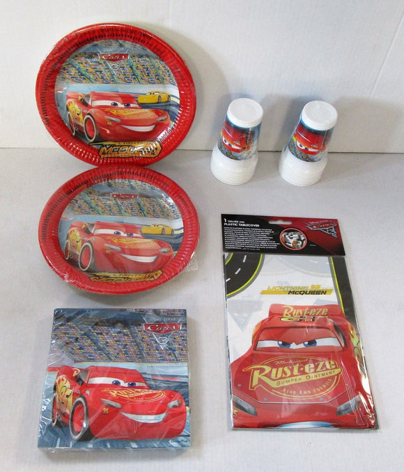 Disney cars 3 Party Tableware Pack for 16 People - Plates Cups Napkins etc