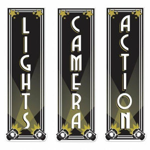 Lights Camera Action Cutouts - 50 cm Hollywood & Movie Night Party Decorations