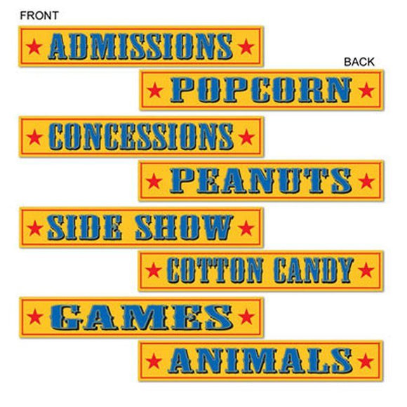 8 Circus Style Signs Cutouts - 61 cm x 10 cm - Fun Fair Food Party Decorations