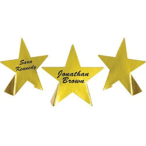 8 Foil Star Place Cards - Hollywood Dinner Party - Gold Movie Star Decorations