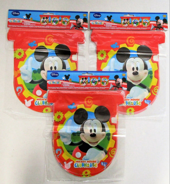 Pack of 3 Mickey Mouse Clubhouse Plastic Flag Banners - Hanging Party Decoration