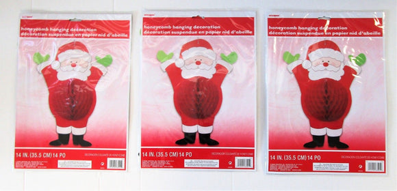 Pack of 3 Santa Honeycomb decorations - Christmas Hanging Party Decoration