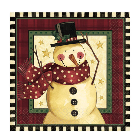 Pack of 16 Cozy Snowman 2 Ply Luncheon Napkins - Christmas Party Tableware