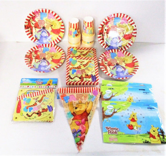 Winnie The Pooh Pack for 32 Children Party Tableware & Banners - Disney