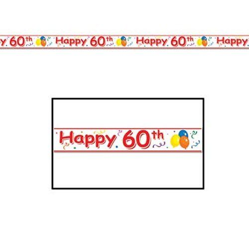 Happy 60th Party Tape - 6 m - Banner and Bunting Birthday Party Decorations