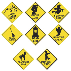 Pack of 4 Halloween Road Sign Cutouts 17'' - Spooky Party Decorations