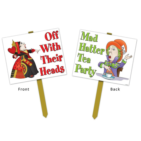 Alice In Wonderland Yard Sign - Mad Hatter Tea Party Lawn Signs Party Decoration