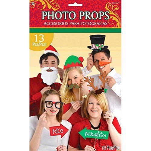 Pack of 13 Christmas Photo Props - Fun Xmas Party Accessories