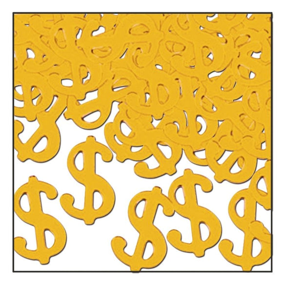 Gold Metallic $ Dollar Signs Party Confetti - Casino Party Decoration - 28g Pack