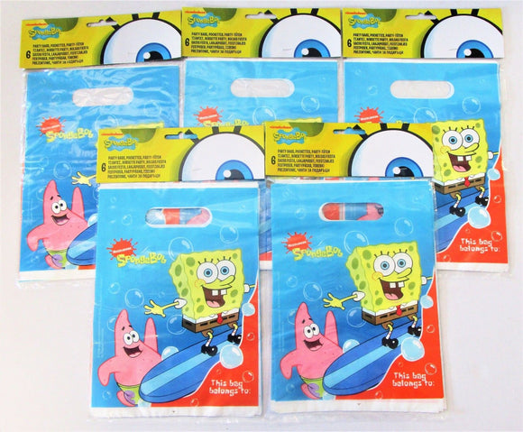 Pack of 30 SpongeBob SquarePants Plastic Party Bags - Favour bag