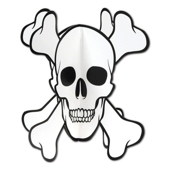 3-D Skull and Crossbones Centerpiece - 25 cm - Pirate Party Decorations