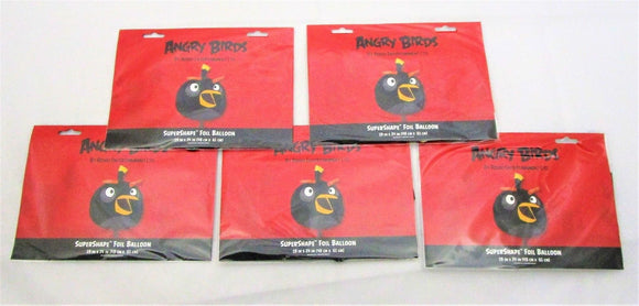 Pack of 5 Super Shape Black Bird Foil Helium Balloons - Angry Birds Party