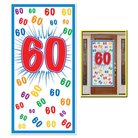 60th Birthday Plastic Door Cover - 76 x 152cm - 60 Celebration Party Decorations