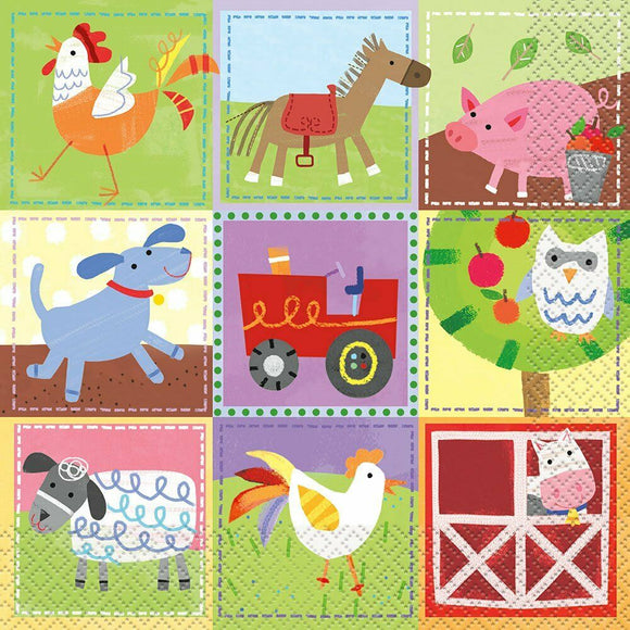 Pack of 16 Farm Animals Paper Luncheon Napkins - Party Tableware