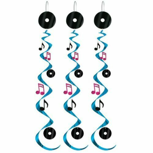 Pack of 3 Rock and Roll Musical Whirls - 76 cm - 50's Party Ceiling Decorations