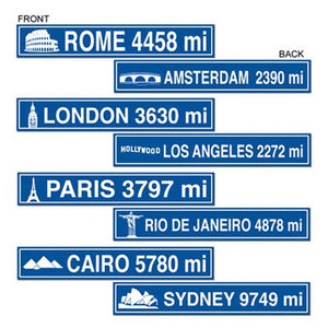 8 Famous Landmark City Street Signs - 10 x 61 cm - Rome London Cairo Paris Rio