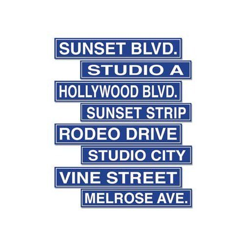 Pack of 4 Double Sided Hollywood Style Street Signs 10 x 61cm Party Decorations
