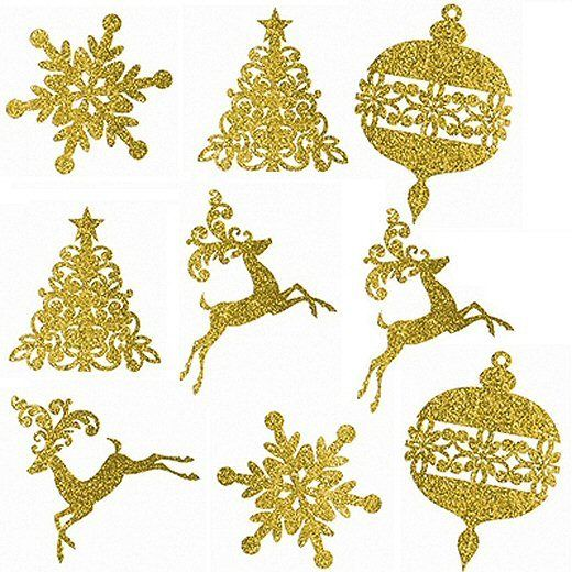 Pack of 9 Gold Christmas Glitter Assorted Winter & Christmas Party Decorations