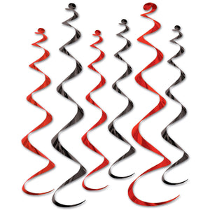 "Pack of 6 Black & Red Spiral Hanging Decorations - 24 - 36"" - Casino Decoration"