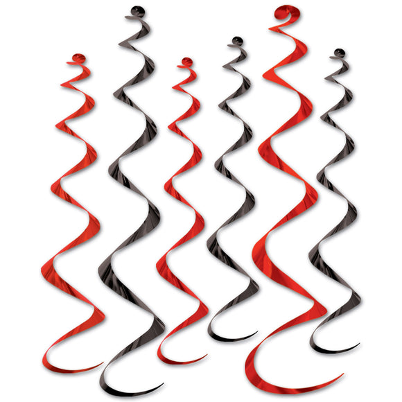 Pack of 6 Black & Red Spiral Hanging Decorations - 24 - 36