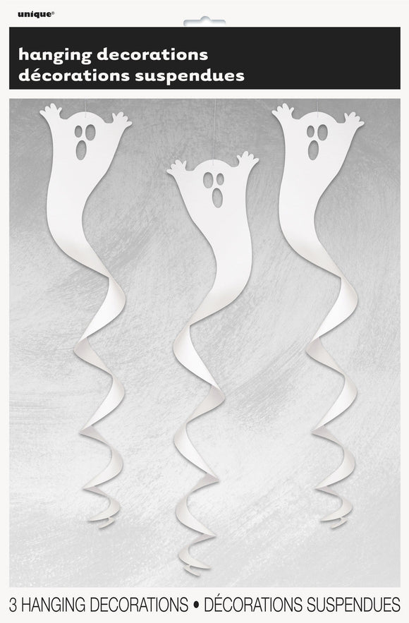 3 Hanging Ghost Decorations - Swirl - Large- Spooky Halloween Party Decoration