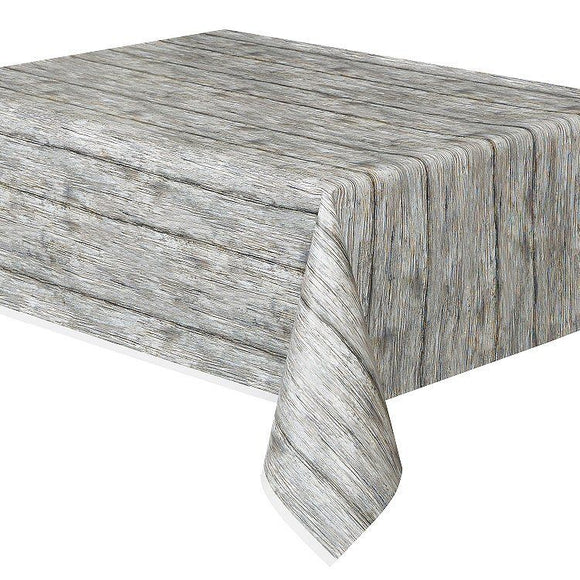 Rustic Wood Print Pattern Plastic Table Cover - Party Tableware - Party Supplies