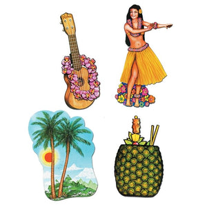 Pack of 4 Luau Cutouts - 43 - 51 cm Tall - Hawaiian Tropical Party Decorations