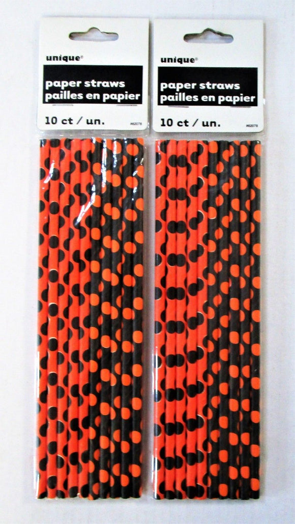 Pack of 20 Black and Orange Polka Dot Paper Straws - Halloween Party Tableware