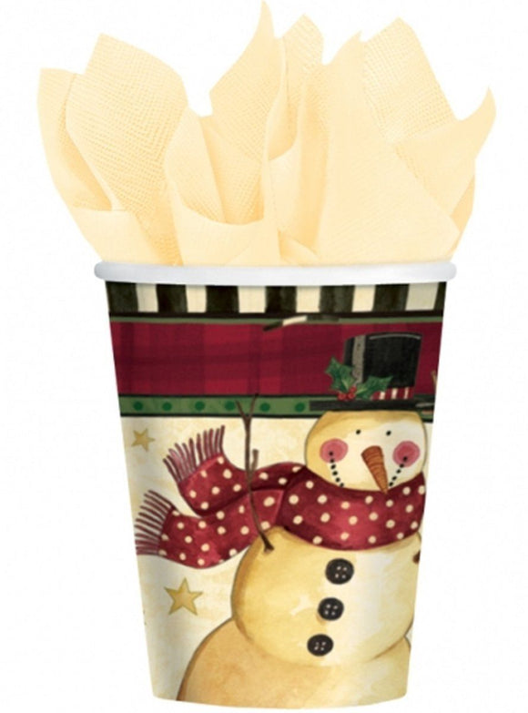 Pack of 8 Cozy Snowman 9oz Paper Cups - Christmas Party Tableware