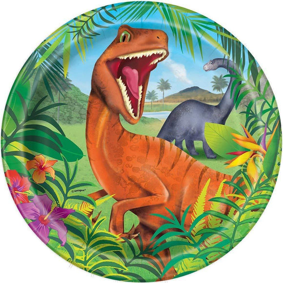 Pack of 8 Dinosaur 23 cm Paper Plates - Prehistoric Party Tableware